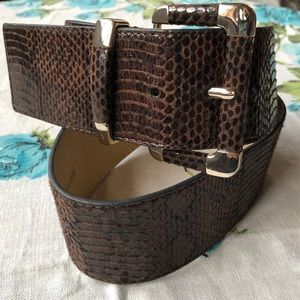WHBM Brown Reptile Look Faux Leather Wide Belt